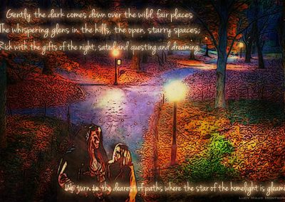 Autumn walk in Central Park. Catherine looking up at Vincent in the lamplight. Text reads: Gently the dark comes down over the wild, fair places, the whispering glens in the hills, the open, starry spaces; Rich with the gifts of the night, sated and questing and dreaming, we turn to the dearest of paths, where the star of the homelight is gleaming. Lucy Maud Montgomery