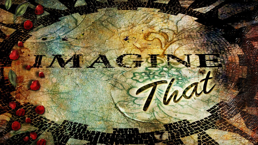 the Imagine mosaic in Central Park with a few red rosebuds scattered on it
