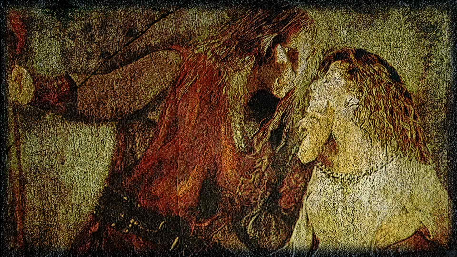 Vincent and Catherine as knight and lady, Vincent cupping Catherine's chin in a near-kiss
