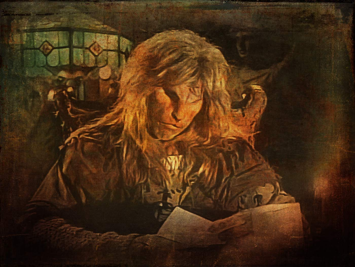 Vincent in his chamber, reading a note from Catherine