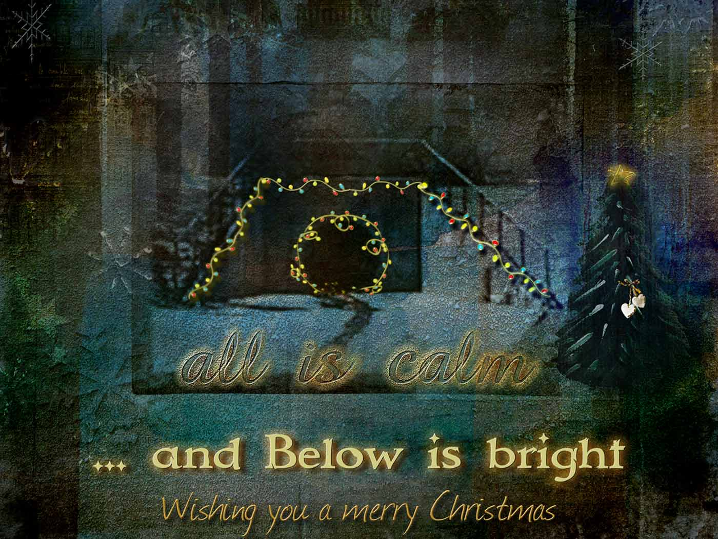 The tunnel entrance decorated with colored Christmas lights. Text reads: All is calm, and Below is bright. Wishing you a merry Christmas.