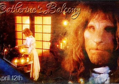 April 12th celebration. Catherine lighting candles on her balcony, Vincent gazing longingly into the distance. Text reads: April 12th - Catherine's balcony.