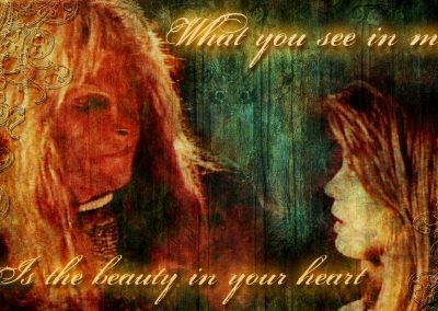 Vincent looking over at Catherine. Text reads: What you see in me in the beauty in your heart.