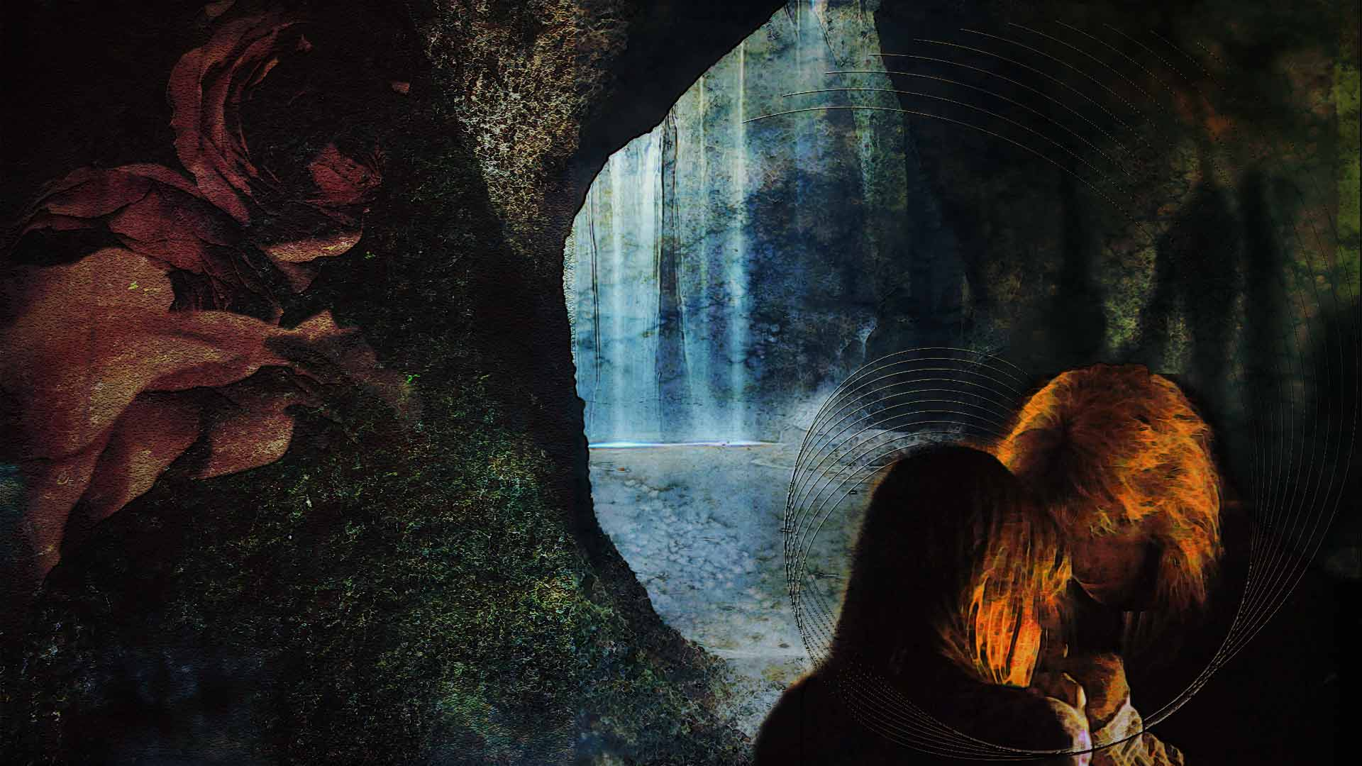 Catherine and Vincent in an intimate moment, holding hands, their foreheads touching, behind them the waterfall