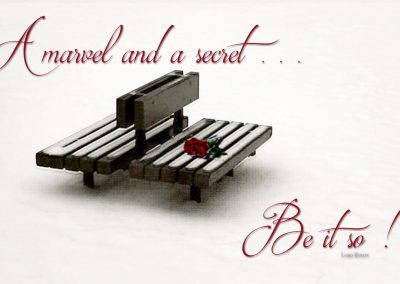 A bench in a deep snow in Central Park, a red rose on the seat. Text reads: A marvel and a secret ... Be it so. Lord Byron