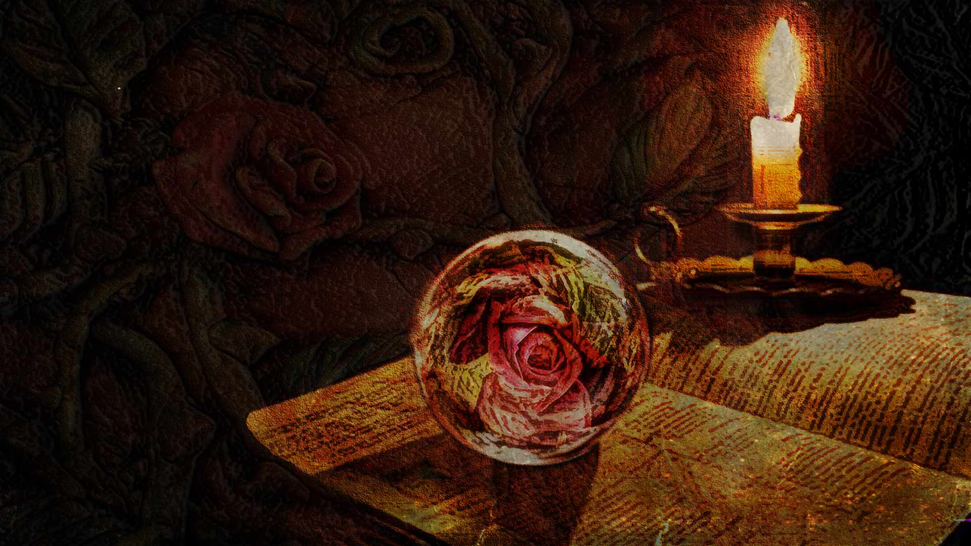 A rose crystal ball, a candle, an open book