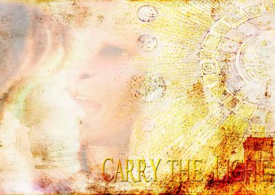 Vincent and Catherine with wondrous expressions in the sunshine. Text reads: Carry the light.