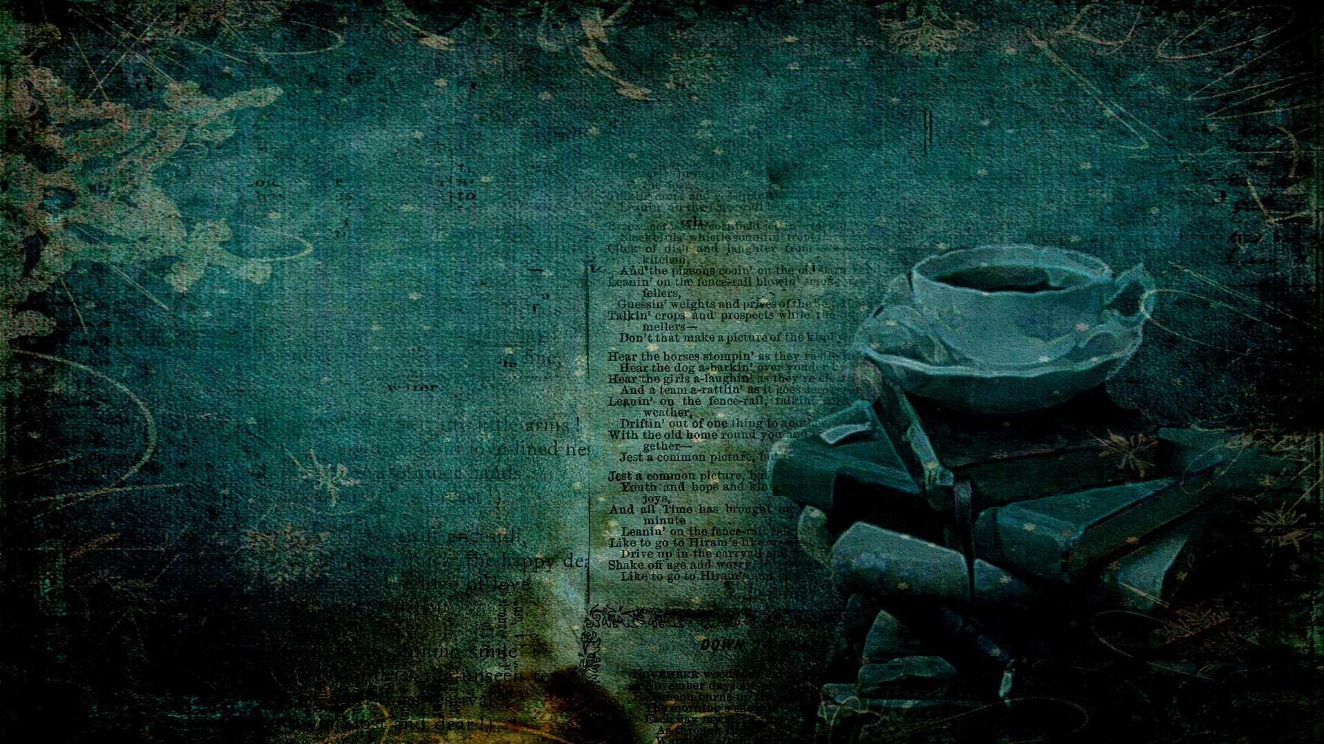 An image of tea cups and stacked books and faded words on a page