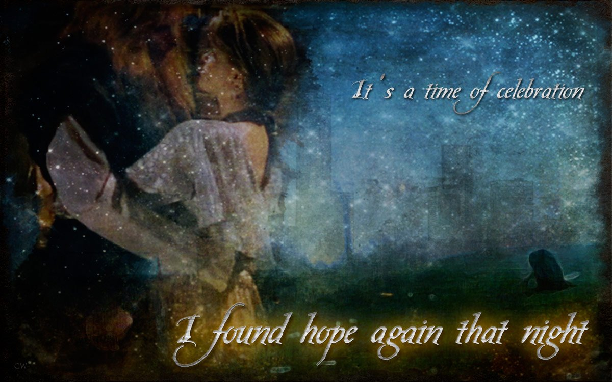 Catherine and Vincent in an embrace. In the background a shadowy remembrance of Vincent saving Catherine in the park. Text reads: It's a time of celebration. I found hope again that night.