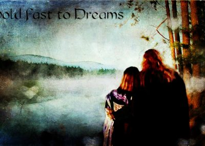 """Vincent and Catherine gazing out at """"the lake"""". Text reads: Hold Fast to Dreams"""