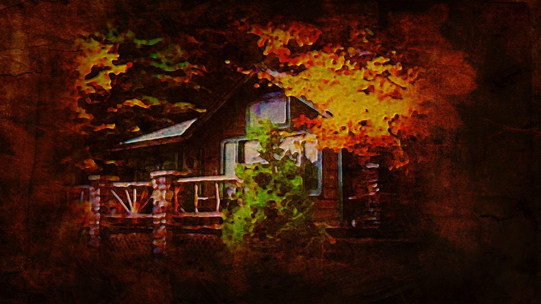 the lake house in Connecticut as it appeared one autumn night