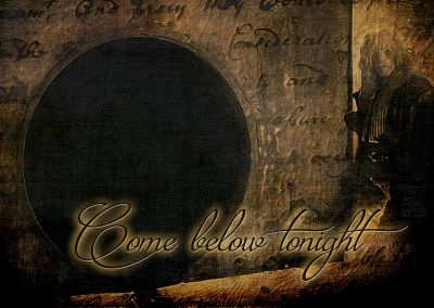 a stylized graphic of Vincent standing outside the tunnel entrance. Text reads: Come below tonight.