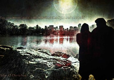 Vincent and Catherine arm in arm at the edge of the Central Park lake. Text reads: May you never place walls between the light and yourself. John O'Donohue