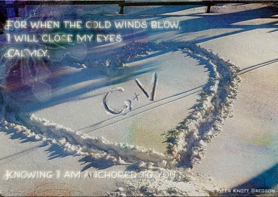 A snowy day in Central park, a heart shape has been trudged in the snow and the initials C + V drawn in the center. Text reads: For when the cold winds blow, I will close my eyes calmly, knowing I am anchored to you. Tyler Knott Gregson