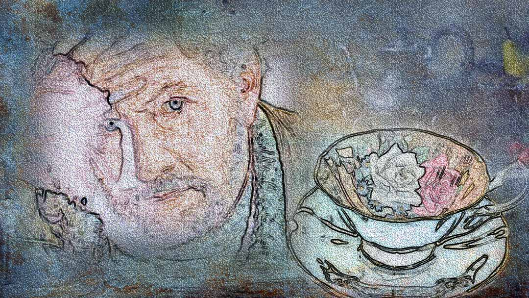 Father looking perplexed, an image of a teacup in the background