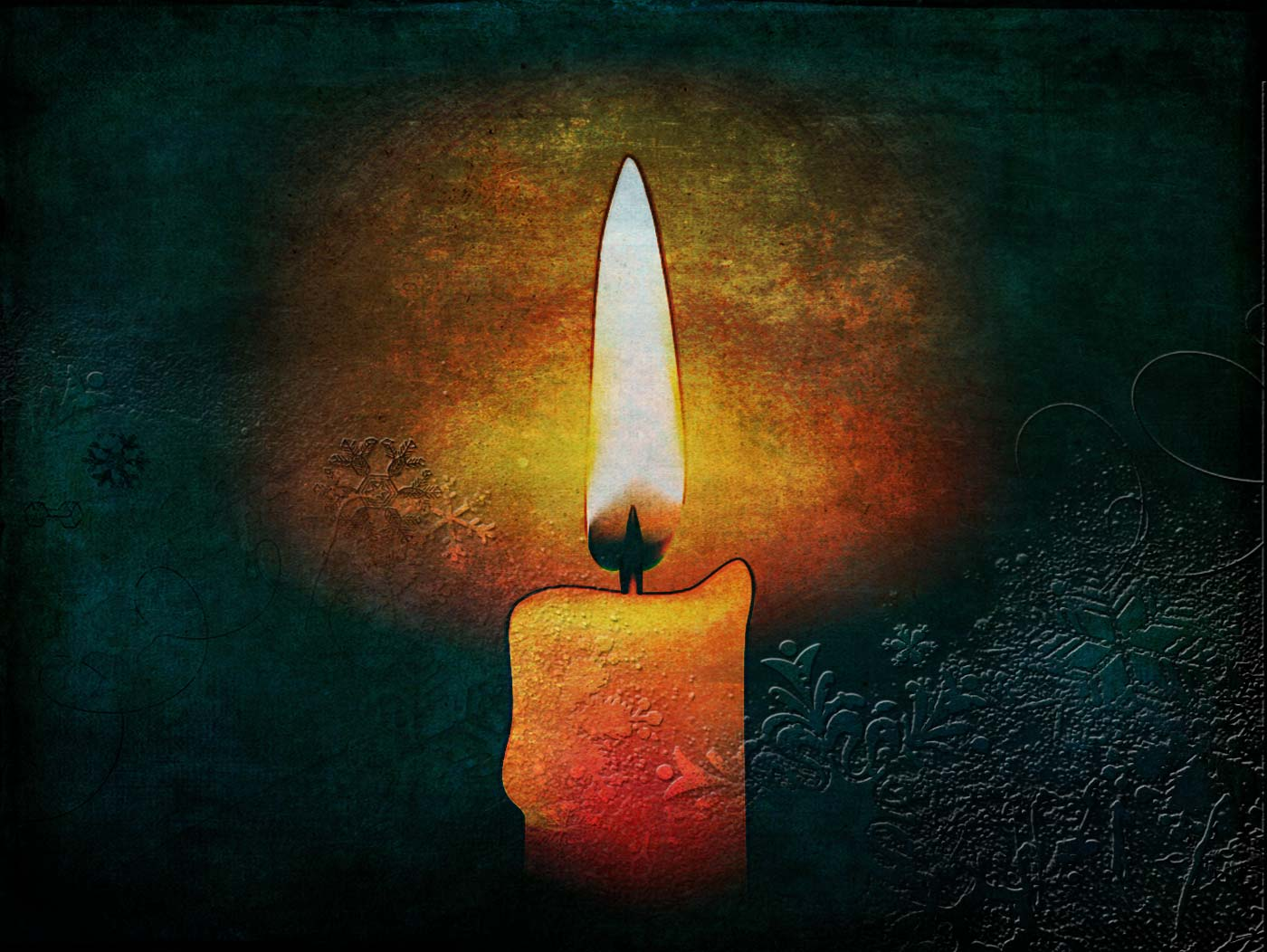 A single lit candle, a golden glow, the hint of snowflakes across the image