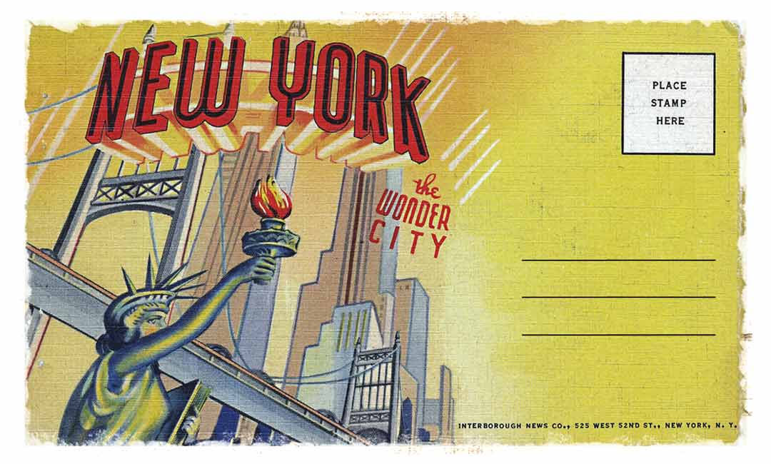 An image of an old NYC postcard with the text: New York the wonder city