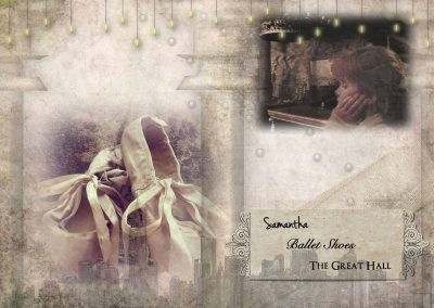 2014 Three-Word topic challenge graphic: Samantha, ballet shoes, the Great Hall