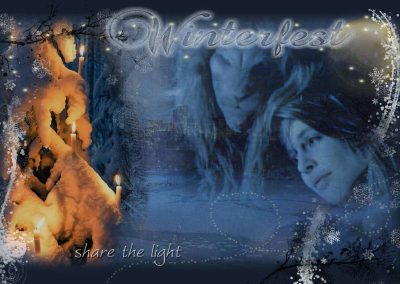Vincent and Catherine gazing at a tree in central park lit with candles. Text reads: Winterfest, share the light