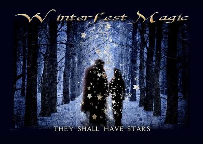 WFOL 2014 wallpaper, Vincent and Catherine walking in a snowy and star-falling tree-lined walkway in central park. Text reads: Winterfest, they shall have stars