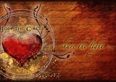 2014 WFOL wallpaper, a heart shape within circles. Text reads: as long as we share the light