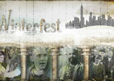 WFOL 2014 wallpaper, the city of New York above, below visions of tunnel dwellers, Vincent and Catherine, Pascal, Winslow, Jamie and Sebastien. Text reads: Winterfest