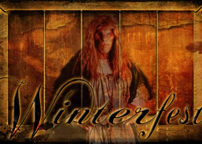 2015 WFOL wallpaper - Vincent in front of the Great Hall tapestries. Text reads: Winterfest