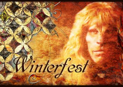 2015 WFOL wallpaper - Vincent in front of a cathedral window quilt with images of tunnel life in the squares. Text reads: Winterfest