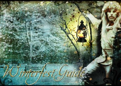 2015 WFOL wallpaper - Vincent holding a lit lantern high in a snow Central Park. Text reads: Winterfest Guide