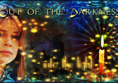 2015 WFOL wallpaper - Catherine before dozens of lit Winterfest candles. Text reads: Out of the darkness into the light, Winterfest