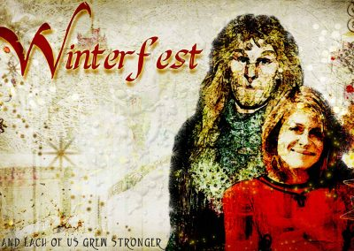 2015 WFOL wallpaper - Vincent and Catherine smiling, standing in a snowy Central Park together. Text reads: Winterfest, and each of us grew stronger