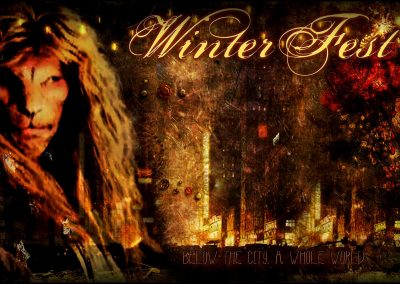 2015 WFOL wallpaper - Vincent in the foreground, behind him a mysterious city scape of lights. Text reads: Winterfest, below this city, a whole world