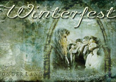 2015 WFOL wallpaper - A fairy tale arch, a vision inside the great hall, Vincent and Catherine gazing upon each other. Text reads: Winterfest Wonderland
