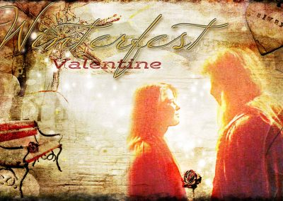 2016 WFOL wallpaper - Catherine and Vincent in Central Park, Catherine holding a rose, in the background a park bench with a rose on it. Text reads: Winterfest valentine