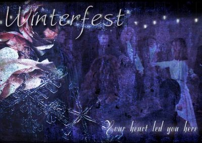 2016 WFOL wallpaper - Catherine joining the circle at the end of Winterfest. Text reads: Winterfest, your heart led you here