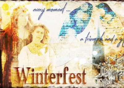 2016 WFOL wallpaper -Catherine and Vincent standing before images of NYC. Text reads: Winterfest, every moment a triumph and a gift.