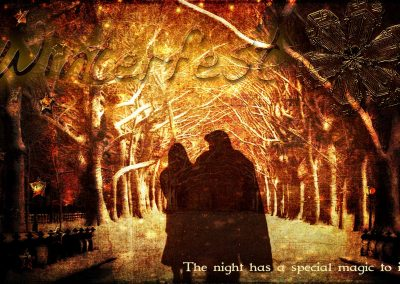 2016 WFOL wallpaper - Catherine and Vincent walking arm in arm under light-lit trees in Central park. Text reads: Winterfest, the night has a special magic to it