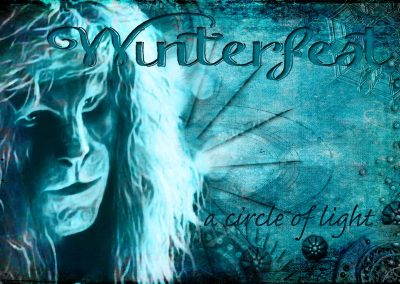2016 WFOL wallpaper - Vincent before steampunk images signifying below, Text reads: Winterfest a circle of light