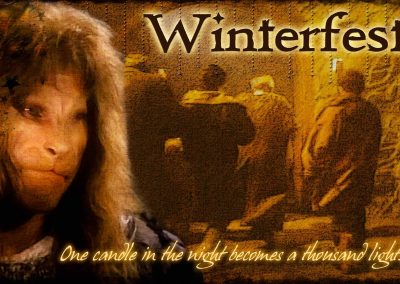 2017 WFOL wallpaper - Vincent's image before an image of folks entering the great hall. Text reads: Winterfest, One candle in the night becomes a thousand lights