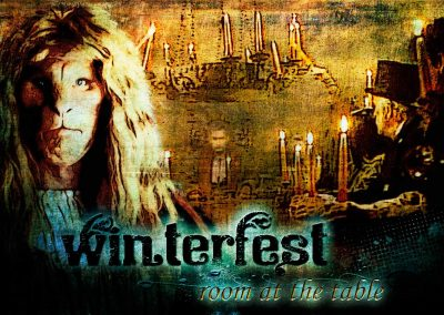 2017 WFOL wallpaper - Vincent's image, in the background the Winterfest table and Father and folks holding their lit candles aloft. Text reads: Winterfest, room at the table