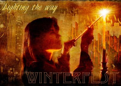 2017 WFOL wallpaper - Catherine lighting a bank of Winterfest candles. Text reads: Winterfest, lighting the way