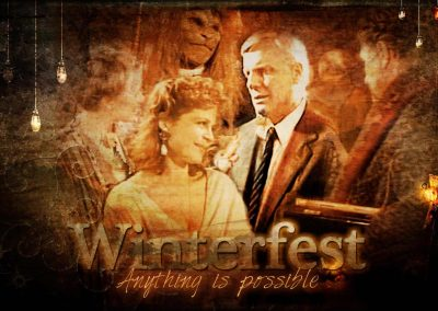 2017 WFOL wallpaper - A dream image of Winterfest with Mary, Father, Vincent, Catherine ... and her FATHER in attendance. If Only!! Text reads: Winterfest - anything is possible