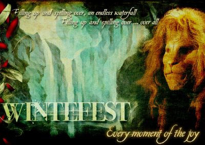 "2017 WFOL wallpaper - Vincent's image, behind him the great falls. Text reads: Winterfest. Every moment of the joy. ""Filling up and spilling over, and endless waterfall, filling up spilling over ... over all"