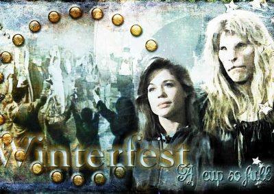 2017 WFOL wallpaper - Catherine and Vincent looking longingly into the future, behind them the circle at the end of Winterfest; Text reads: Winterfest, a cup so full