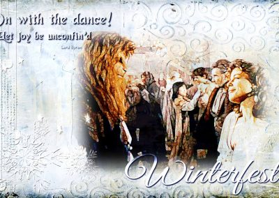 2018 WFOL Wallpaper, Vincent and Catherine smiling at each other while others in the background are dancing. Text reads: On with the dance! Let joy be unconfin'd.