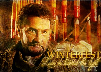 2018 WFOL Wallpaper, father's image in the candle-making scene. Text reads: Winterfest: Lean in towards the light