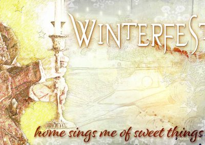 2018 WFOL Wallpaper, an image of a woman holding a candelabra, superimposed on an image of the park tunnel entrance. Text reads: Home sings me of sweet things