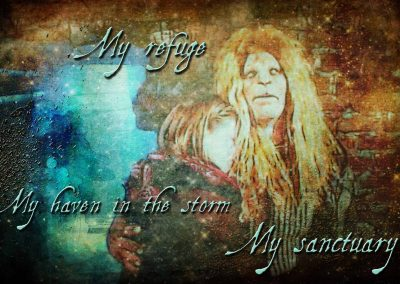 Catherine and Vincent at her threshold, the first time. Text reads: My refuge, my haven in the storm, my sanctuary