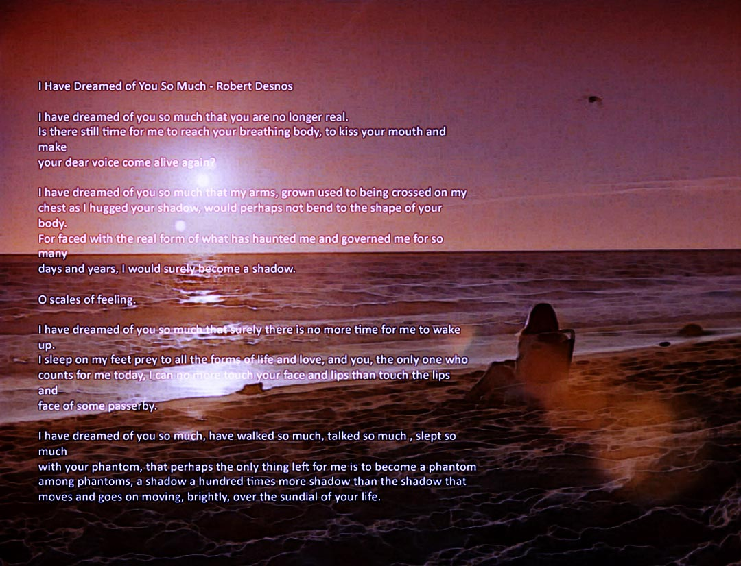 Catherine sitting on the beach at sunset, the text is the poem I Have Dreamed of You So Much by Robert Desnos