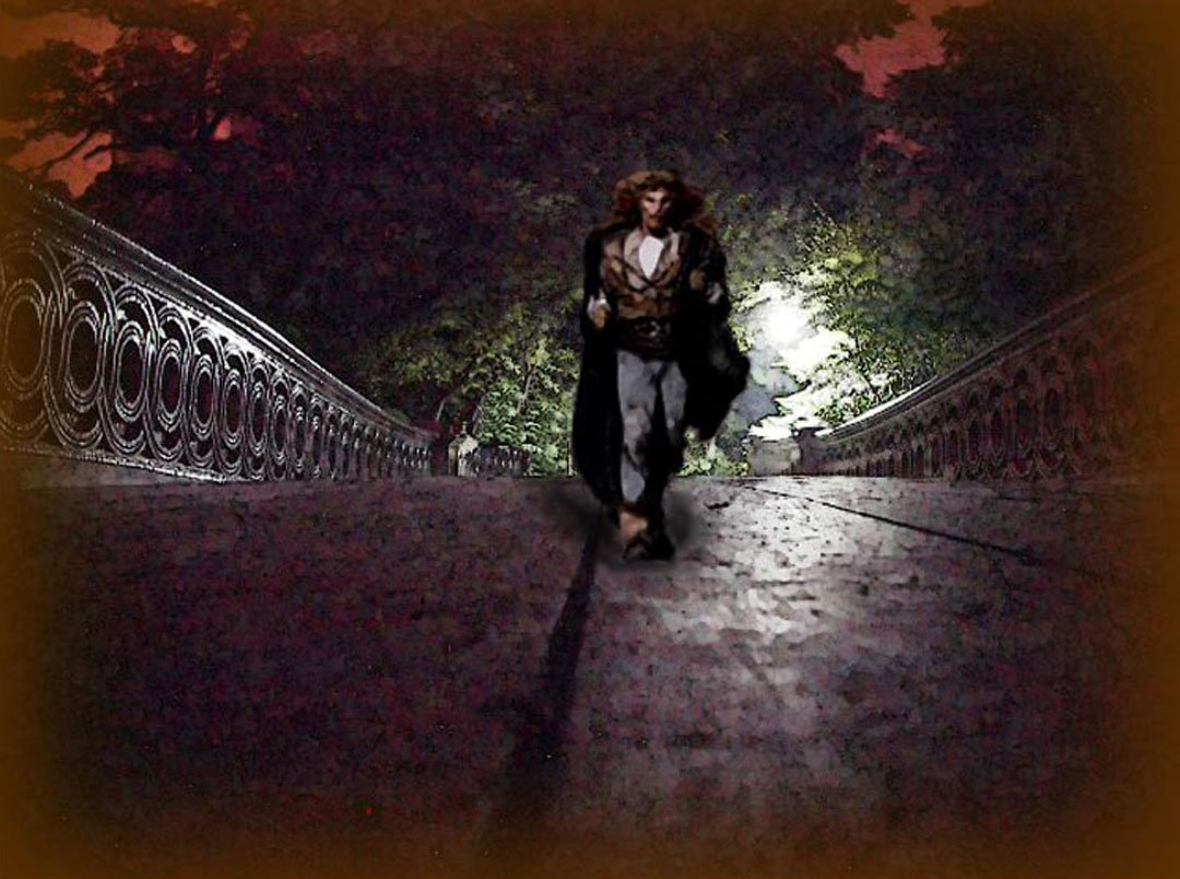 Vincent rushing across the Bow Bridge at night